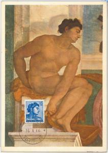 57350 -  ITALY - POSTAL HISTORY: MAXIMUM CARD 1966 - ART Painting MICHELANGELO