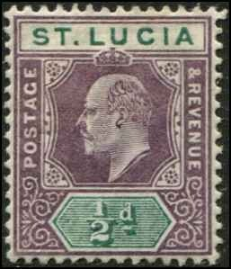 St Lucia SC# 43 Edward VII 1/2d SCV $4.50 MH
