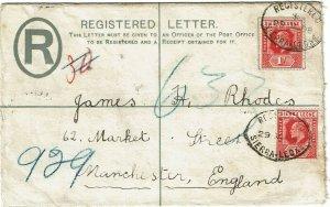 Sierra Leone 1908 oval cancel on registry envelope to England