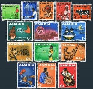 Zambia 4-17,hinged.Michel 1-14.Farmer,X-Ray technician,Chinyau dance,Cotton,Bull