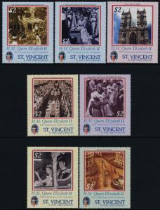 St. Vincent 3087-94 MNH Queen Elizabeth 50th Anniv of Coronation