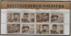 U.S. Scott #3393-3396 Distinguished Soldier Stamps - Mint NH Block of 8