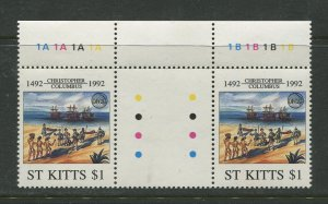 STAMP STATION PERTH St Kitts #341-342  Se-Tennent Pair MNH 1992