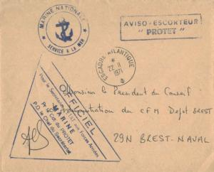 France Military Free Mail 1971 Escadre - Atlantique to Brest-Naval with Aviso...