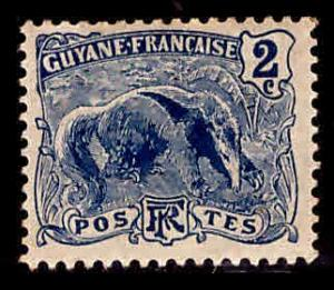 French Guiana Scott 52 anteater MH* stamp expect similar centering