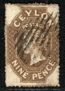 CEYLON QV Stamp SG.33b 9d Olive-Sepia (1861-64) ROUGH PERF Used Cat £85 RBLUE83
