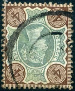 Watermark Inverted SG205 4d Green & Brown Fine Used c£600.00