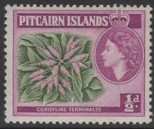 PITCAIRN ISLANDS SG18a 1963 ½d GREEN & REDDISH PURPLE MNH