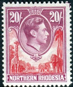 NORTHERN RHODESIA-1938-52 20/- Carmine-Red & Rose-Purple unmounted mint Sg 45