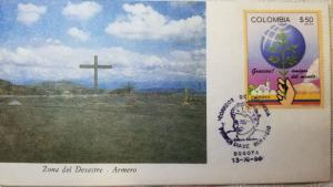 L) 1986 COLOMBIA, ARMERO, DISASTER ZONE, ARCHITECTURE, WORLD, CROSS, VOLCANO