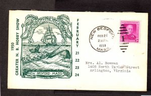 US MA Whaling Whales Ship New Bedford Massachusetts Duplex Cancel Stamp Cover