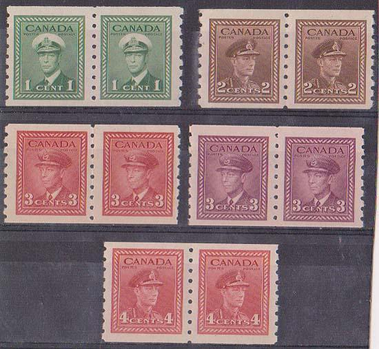 Canada USC #263-267 Mint F-VF NH 1942-43 Coil Pairs - Cat. $55.50