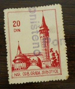 Yugoslavia Serbia SUBOTICA Local Revenue Stamp 20 Din.  CX23