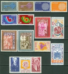 FRENCH ANDORRA : Nice Modern group with Better Europa. Very Fine, Mint OGLH