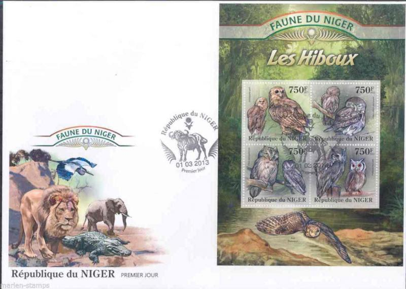 FAUNE OF NIGER 2013  OWLS   SHEET FIRST DAY COVER