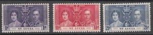 St.Lucia - 1937 Coronation Sc# 107/109 - MH (7689)
