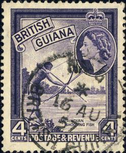 BRITISH GUIANA - 1957 -  NIGG  Single Circle DS on SG 334 4c Violet