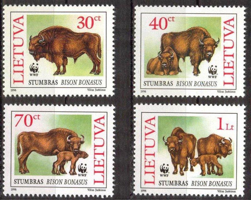 Lithuania 1996 WWF European Bison set of 4 MNH
