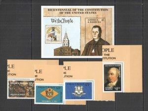 L0103 ANTIGUA & BARBUDA CONSTITUTION USA #1072-75 1BL+1SET MNH
