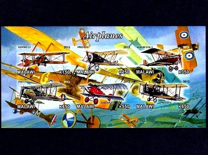 MALAWI - 2012 - AIRCRAFT - WW I - ALBATROSS - BIPLANE ++ IMPERF - MINT S/SHEET!