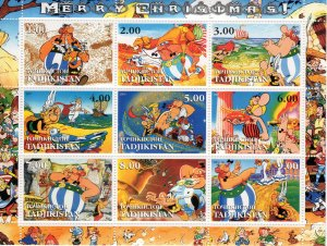 Tajikistan 2001 MERRY CHRISTMAS 6 Sheetlets of 9 each (54 values) Perforated MNH