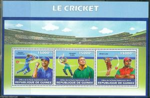 GUINEA 2013 CRICKET SACHIN TENDULKAR JACQUES KALLIS & BRIAN  LARA  SHEET MINT NH