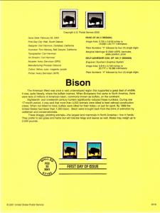 US SP1383 Bison 3468,3475 Souvenir Page FDC