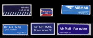 AIR MAIL LABELS : 6 DIFF FROM 6 DIFF COUNTRIES, NICE CINDERELLA LOT, SEE NOTE