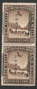Newfoundland Sc#211ii Pair M/NH/VF, Overprint Badly Shifted, One Unwmk, Cv. $260