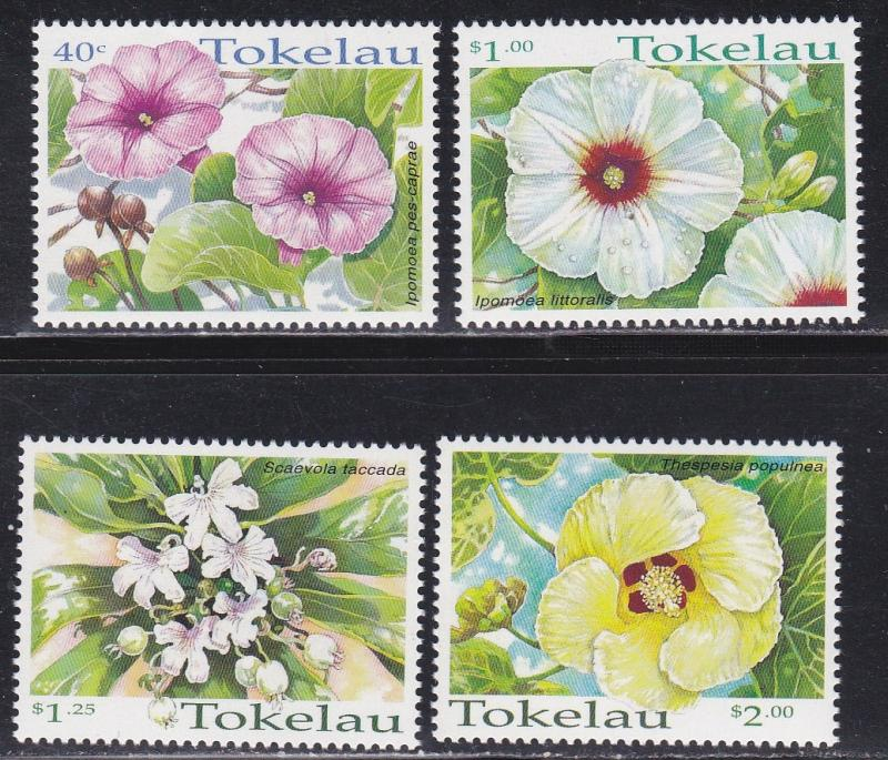 Tokelau # 260-263, Tropical Flowers, NH, 1/2 Cat