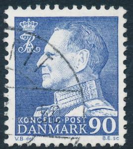 Denmark Scott 441 (AFA 463F), 90ø blue Frederik IX, VF Used