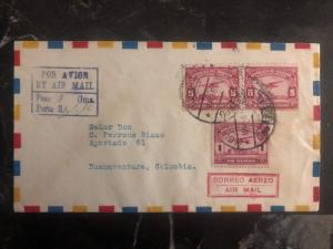 1930 Guayaquil Ecuador First Flight cover FFC to Buenaventura Colombia