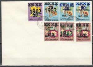 Guyana, Scott cat. 778-784. Scout values with Provincial o/prints on Cover.