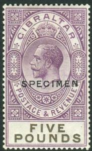 GIBRALTAR-1925-32 £5 Violet & Black OVPT SPECIMEN.  A lightly mounted mint examp