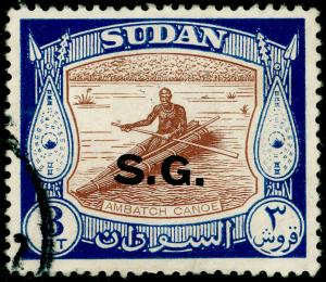SUDAN SGO75a, 3p brown & dp blue, FINE USED.