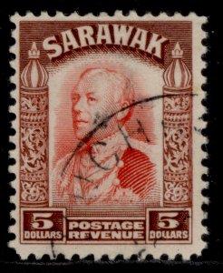 SARAWAK GV SG124, $5 scarlet & red-brown, FINE USED. Cat £85.
