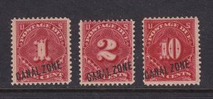 Canal Zone # J1 - J3 set F-VF OG hinged nice color cv $ 1335 ! see pic !