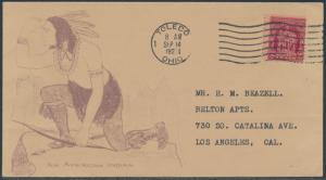 #680 ON AN AMERICAN INDIAN FDC CACHET BY BEAZELL TOLEDO, OH CDS CV $525 BS2469