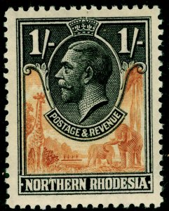 NORTHERN RHODESIA SG10, 1s yellow-brown & black, LH MINT.
