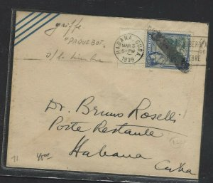 JAMAICA  COVER (PP2707B) 1939 KGVI 2 1/2D PAQUEBOT FROM HAVANA LOCAL