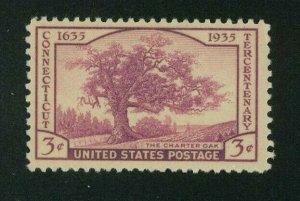 US 1935 rose purple Connecticut Tercentenary, Scott 772 Mint Hinged, Value = 35c