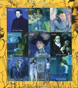 Sao Tome & Principe 2005 Picasso BLUE PERIOD PAINTINGS Imperforated Mint (NH