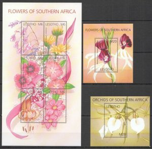 H0145 LESOTHO FLOWERS OF SOUTHERN AFRICA FLORA 1KB+2BL MNH