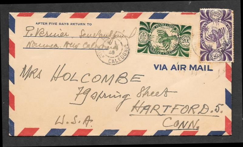 1946 air mail cover from New Caledonia to Hartford, Conn