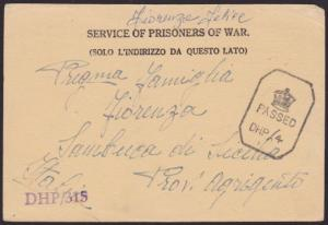 INDIA 1943 P.O.W. postcard to Italy ex Camp 26/5 Passed Censor..............6471