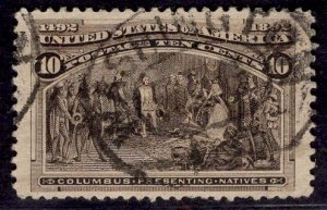 US Stamp #237 10c Columbian USED SCV $8.00