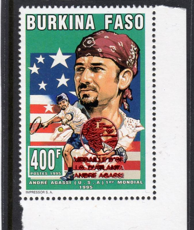 Burkina Faso 1995 Mi#A1364A Atlanta Olympic Winner Andre Agassi  Perforated MNH
