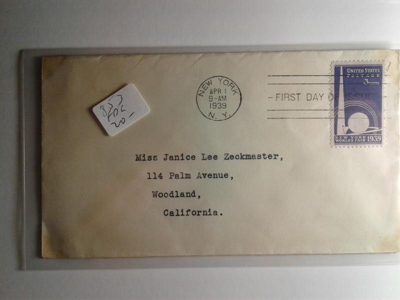 SCOTT # 853 FIRST DAY OF ISSUE NEW YORK WORLDS FAIR VERY DESIRABLE 1939