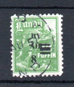 LUNDY: 'BY AIR' (NARROW) + 8p OVERPRINT USED