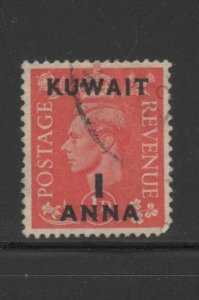 KUWAIT #73  1948  1a on 1p   KING GEORGE VI SURCHARGED   F-VF  USED